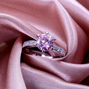 NEW 18K Solitaire Pink Sapphire Diamond Ring
